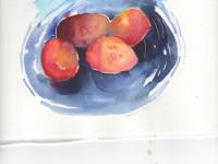 Plums in a blue dish