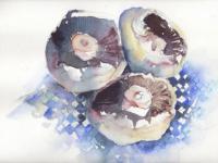 Mushrooms on gingham 2