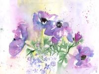 Anemones in a lilac jug