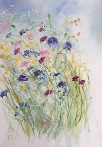 Pink and blue cornflowers with cow parsley and buttercups swaying to the right