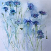 Blue cornflowers against a pale blue background