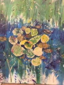 Green background reeds with large lily pads collaged onto blue water.