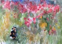 A filed of poppies with Poppy the calico cat sitting in the corner