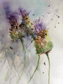 Purple headed thistles against a blue/mauve background and suggestions of flying