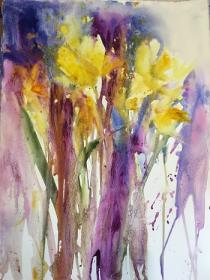 Yellow/golds, purple/pink Spring flowers intermingling